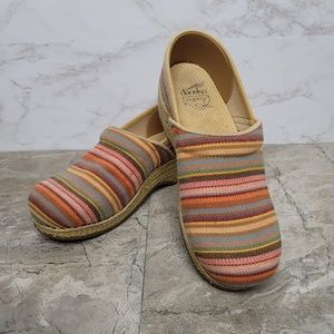 Dansko Multicolor Vegan Striped Slip-On Clogs